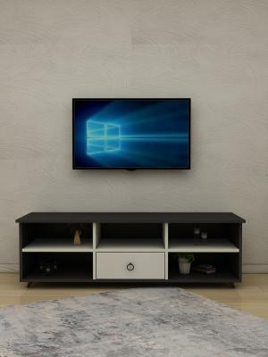 Küpe Antrasit - Beyaz 1 Çekmeceli TV Sehpası