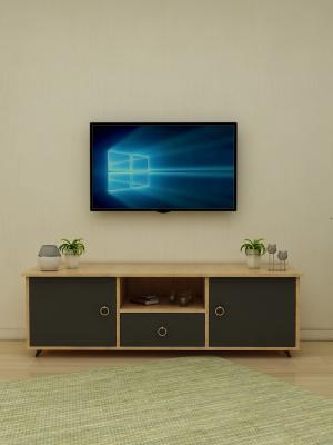 Menekşe Sonoma - Antrasit 2 Kapaklı 1 Çekmeceli TV Sehpası