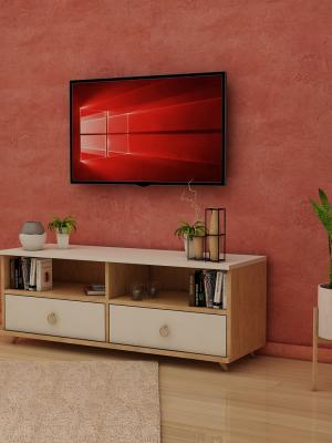 Şebboy Sonoma - Beyaz 2 Çekmeceli TV Sehpası