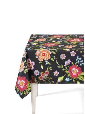 The Mia Floral Masa Örtüsü A - 150 x 150 Cm Siyah Çiçekli