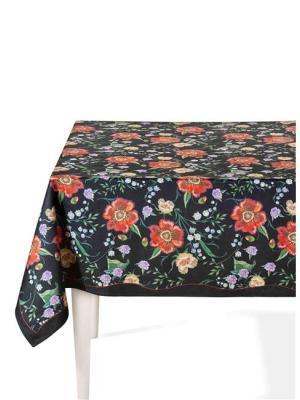 The Mia Floral Masa Örtüsü B - 230 x 150 Cm Siyah Çiçekli