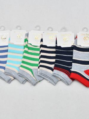 12'Li İnce Çemberli Erkek Çocuk Patik Çorabı - Karışık