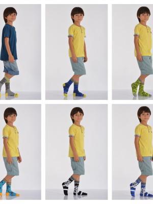 12'Li Karışık Desenli Erkek Çocuk Soket Çorabı - Karışık