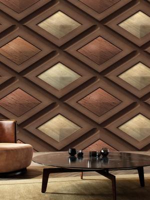 3D Boyutlu Gölgeli Üçgen Mobilya Desen Geometrik Duvar Kağıdı