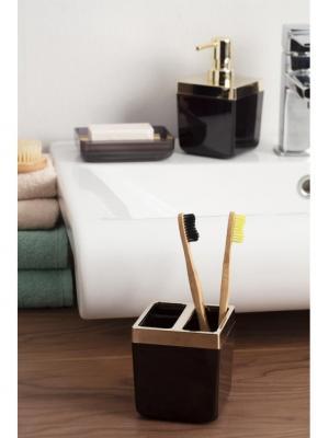 Primanova Toskana Şeffaf Siyah Altın Banyo Seti