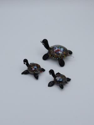 El Yapımı Murano Cam Kaplumbağa Biblo Seti