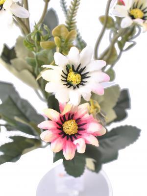 5 Dallı 33 cm Papatya Demeti Pembe Beyaz-CK013PB