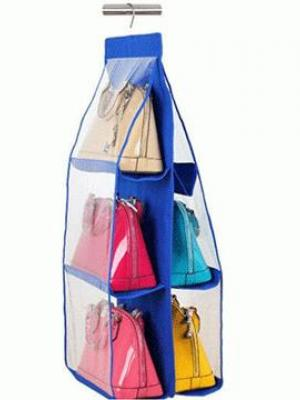 6 Gözlü Pratik Dolap İçi Çanta Askılığı Oganizer (Mavi)