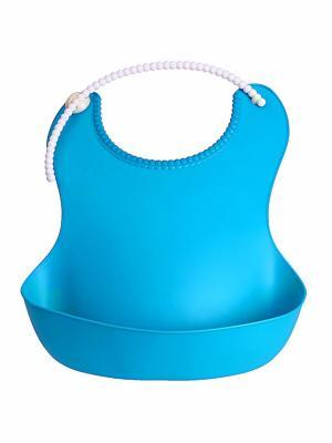 Dökülmelere Karşı Plastik Bebek Önlük - Mavi