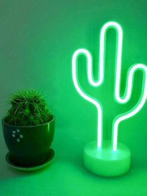 Kaktüs Dekoratif Neon Led  Masa Ve Duvar Lambası