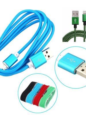 Örgü Şeklinde Renkli Şarj Data Kablosu: 1.5 m Apple