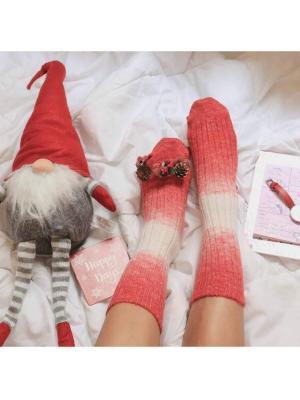 12Li Yün Degrade Desenli Kadın Soket Çorabı - Kırmızı