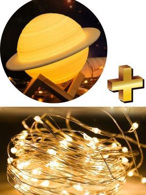 Buffer 3D Print Dokunmatik 3 Renk USB Şarjlı Gece Lambası (Kumandasız) ve Peri Led Işık 5 Mt Sarı
