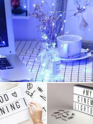 Buffer Işıklı Mesaj Veren Pilli Light Box Led Pano ve Güneş Enerjili Peri Mantar Led (Günışığı)