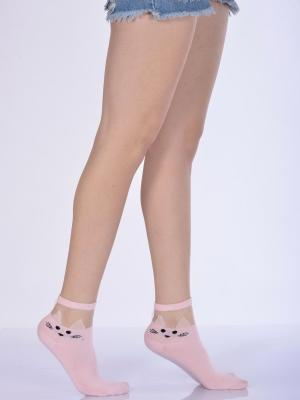 Idilfashion Kadın Kedili Tül Patik Çorabı  - Pembe - B-ART033 (TEKLİ)