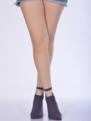 Idilfashion Kadın Kedili Tül Patik Çorabı  - Mor - B-ART033 (TEKLİ)